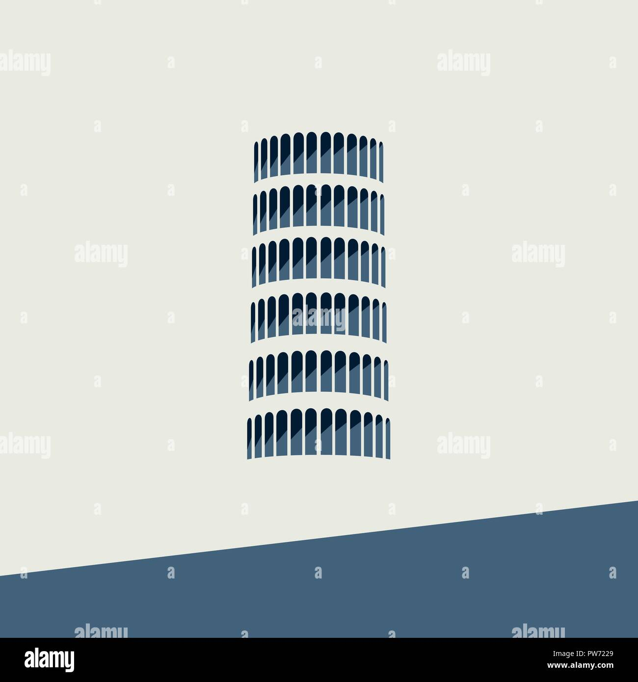 Vector Icon of the Tower of Pisa in flat design - Stock Vector