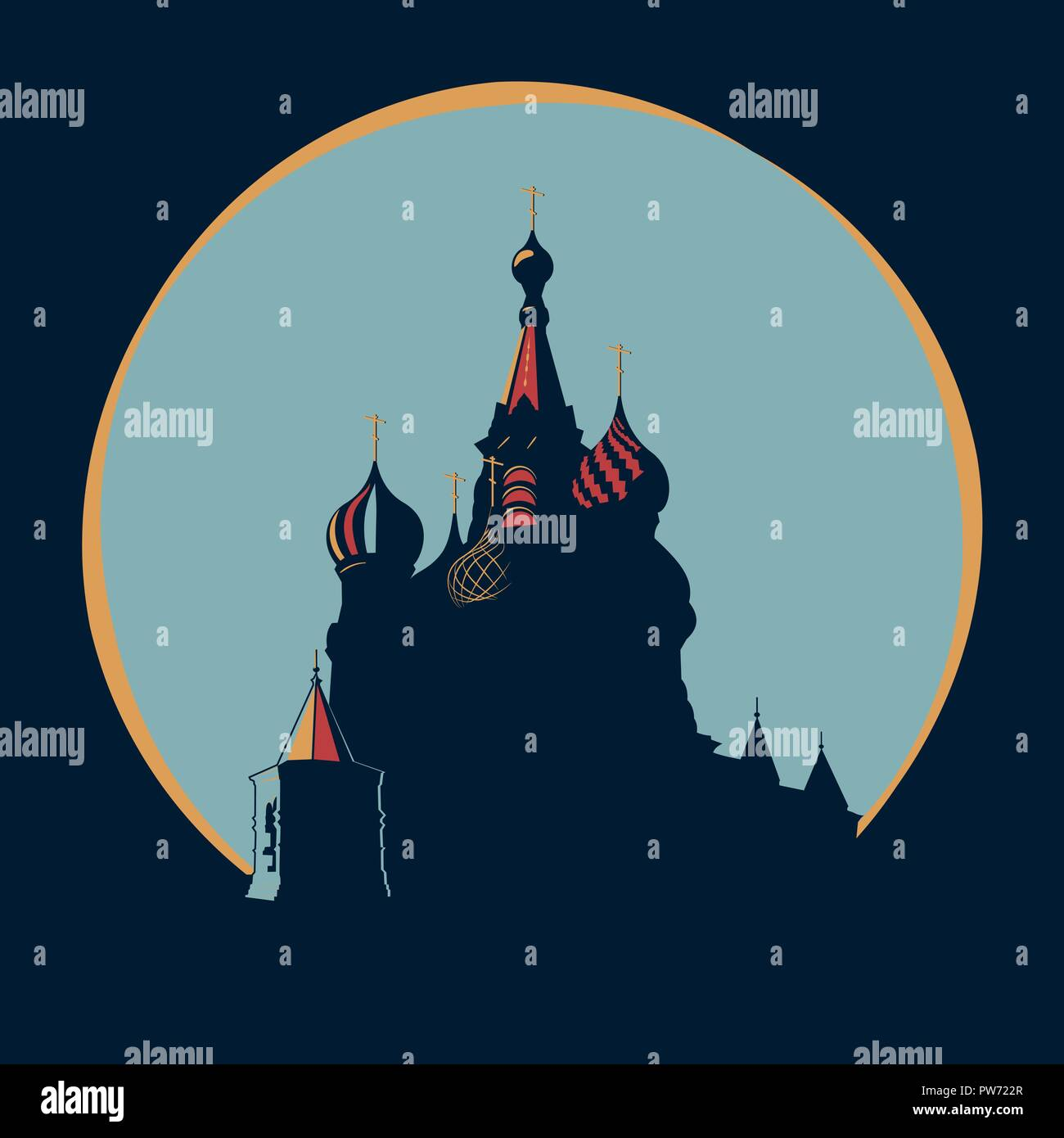 Vasily The Blessed Temple in original style - Stock Vector