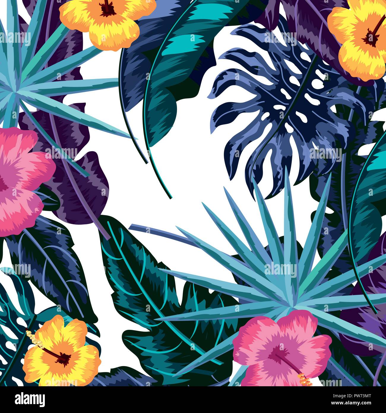 Tropical Leaves And Flowers Background Stock Vector Image Art Alamy Watercolor tropical leaf and flowers for wedding invitation card purpose. https www alamy com tropical leaves and flowers background image222047416 html