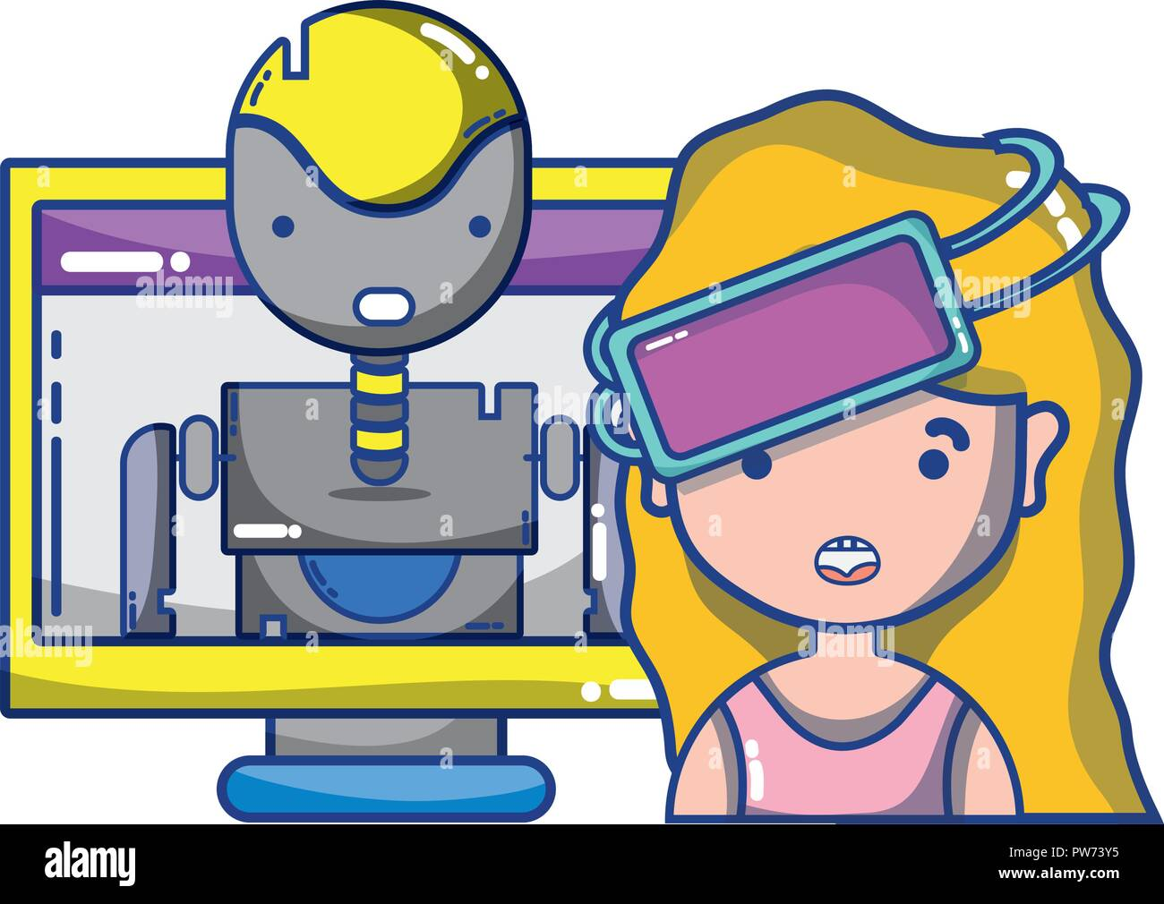 FPV goggles technology cartoons - Stock Image