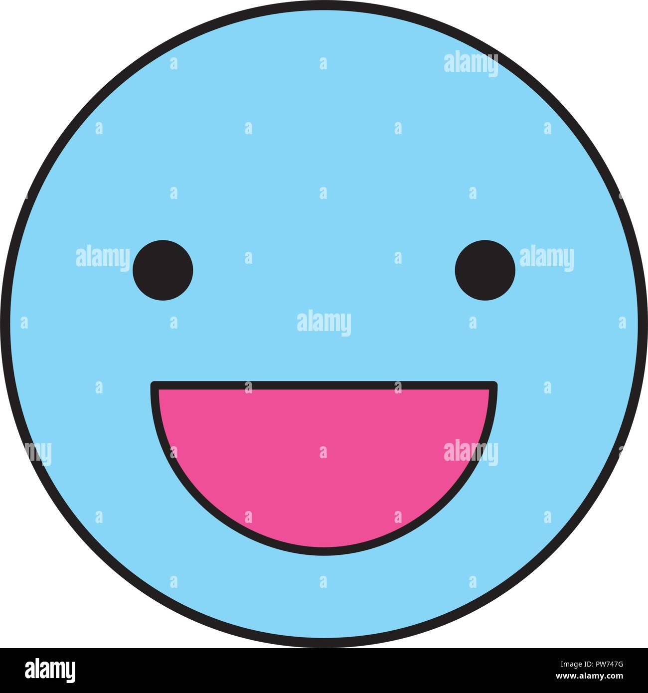 Happy round emoji - Stock Image