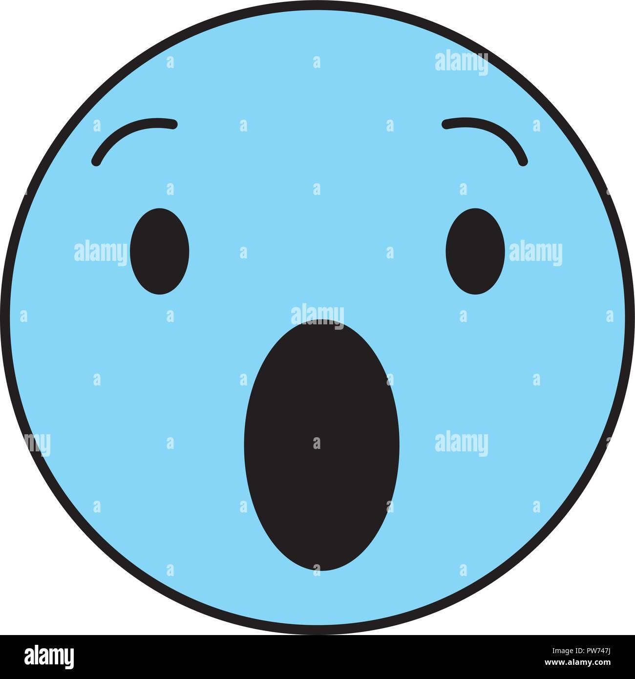 Surprised round emoji - Stock Image