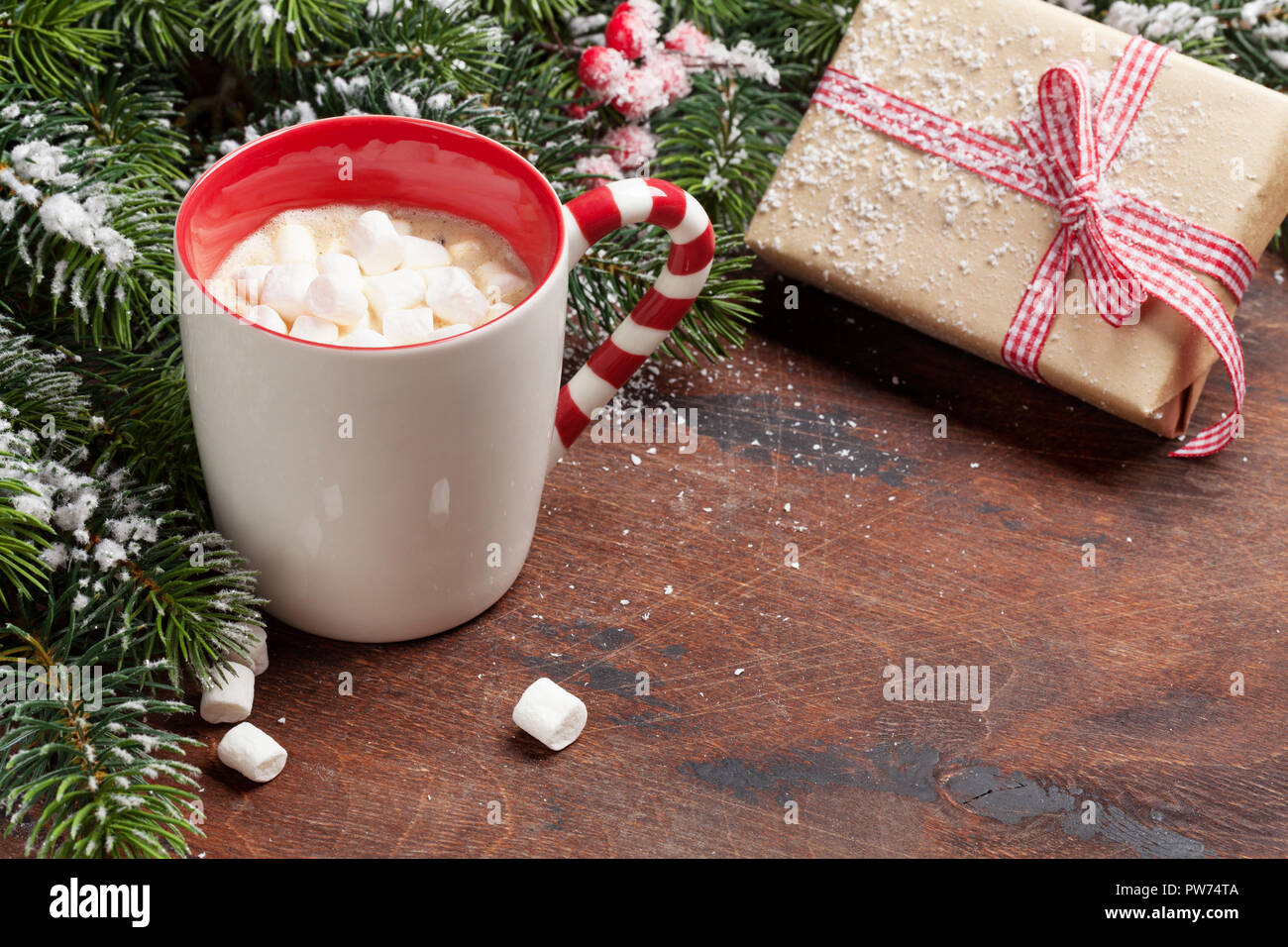 Christmas gift box, cup of hot chocolate with marshmallow and fir ...