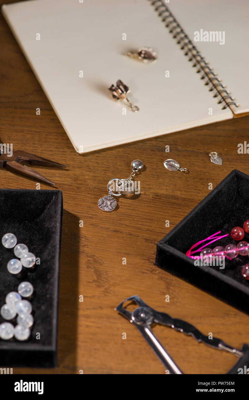 Jewelry Tools Goldsmith Workplace Hand Craft Workshop Stock Photo