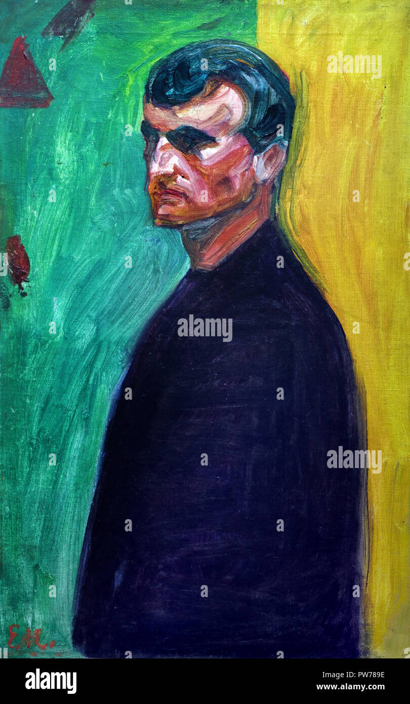 Self Portrait against Two colored Background 1904 Edvard Munch Norway Norwegian 1863 - 1944 - Stock Image
