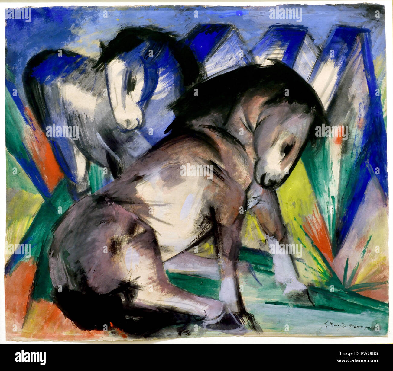 Two Horses 1913 Franz Marc 1880-1916 France French Stock Photo