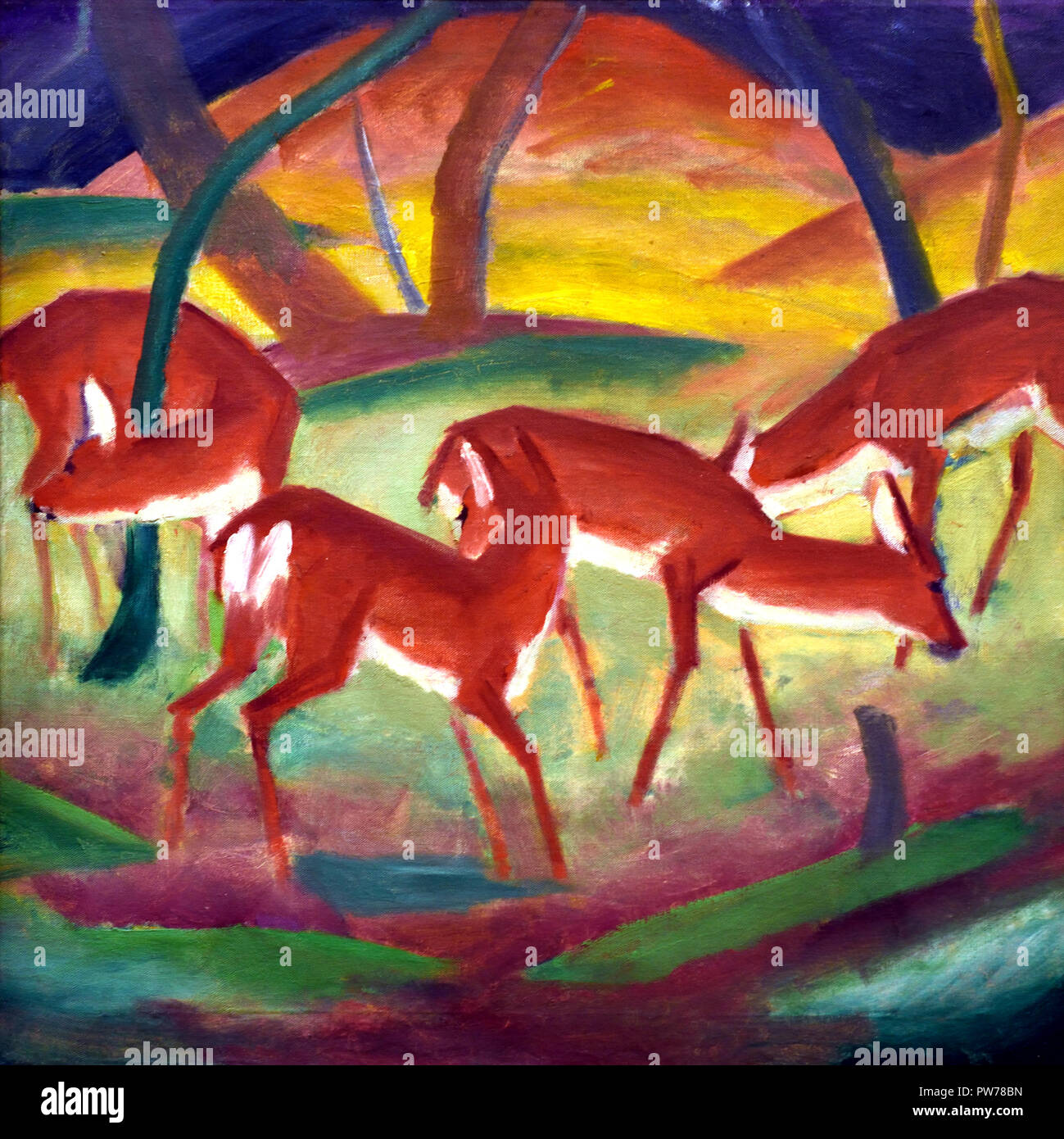 Rote Rehe - Red deer 1910 by Franz Marc 1880-1916 France French Stock Photo