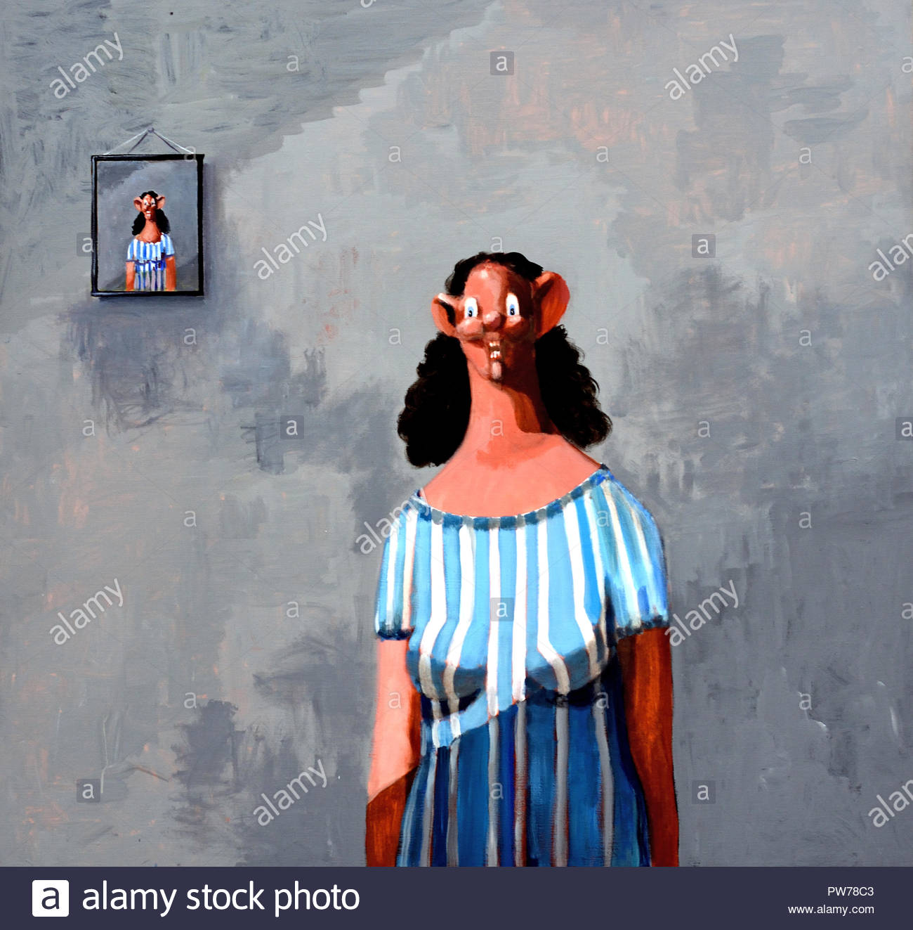 Standing Alone 2000 by George Condo 1957 American contemporary visual artist . - Stock Image