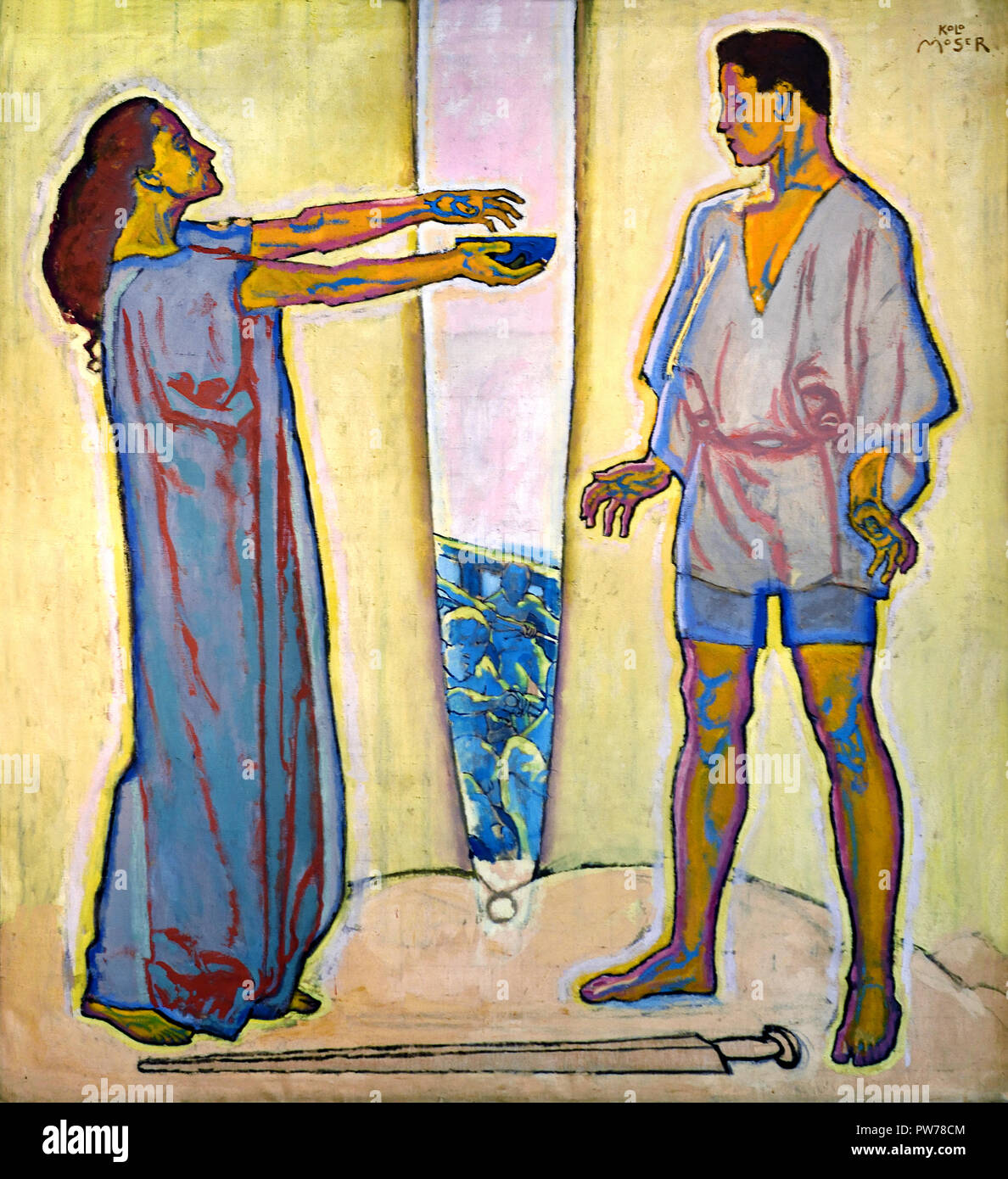 The Love potion (Tristan and Isolde) 1913-1915 Koloman Moser 1868 – 1918, Austrian artist painter Austria.( Tristan und Isolde is an opera, or music drama, in three acts by Richard Wagner to a German libretto by the composer ) - Stock Image