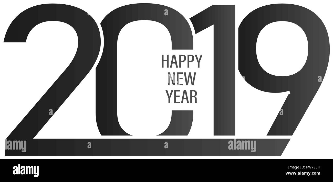 2019 happy new year background with black and white colors