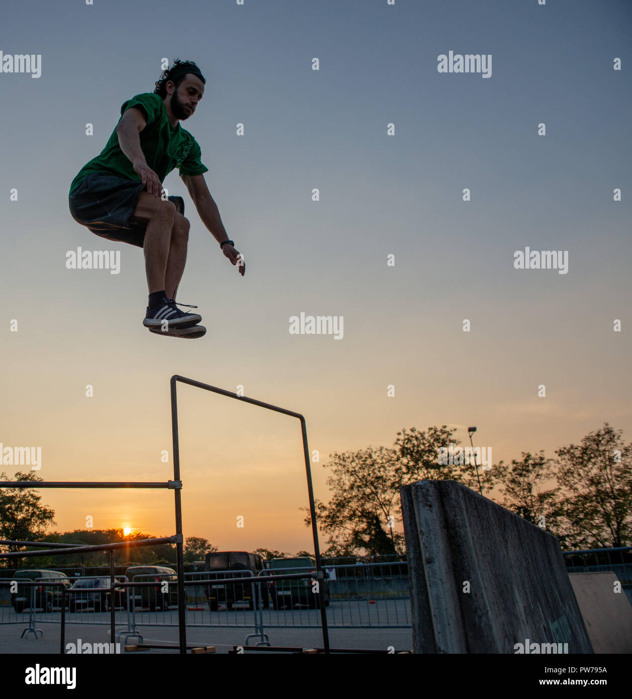 Bergamo Italy October 12th 2018:Parkour 'physical activity in running, climbing and jumping to overcome an obstacle Stock Photo