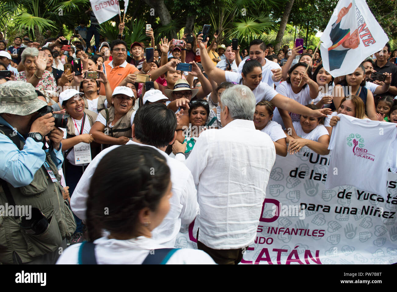President-elect of Mexico, Andres Manuel Lopez Obrador during his visit to Merida, Yucatan, October 2018. - Stock Image