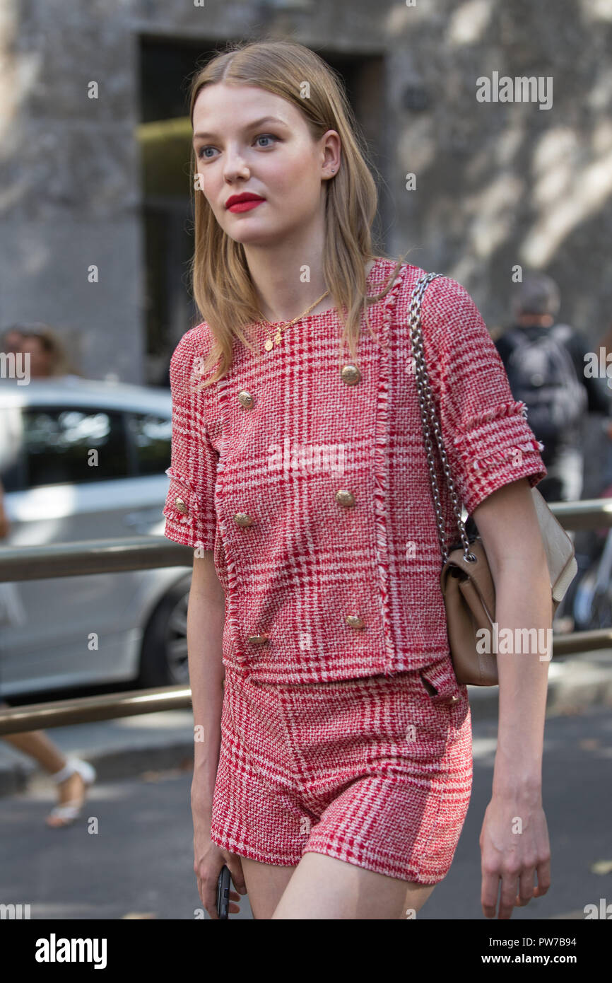 Model after Dolce & Gabbana show - Stock Image