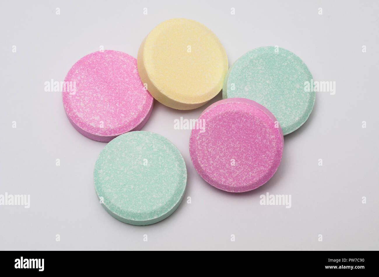 Assorted Fruit-Flavored Low-Cost Antacid Tablets - Stock Image