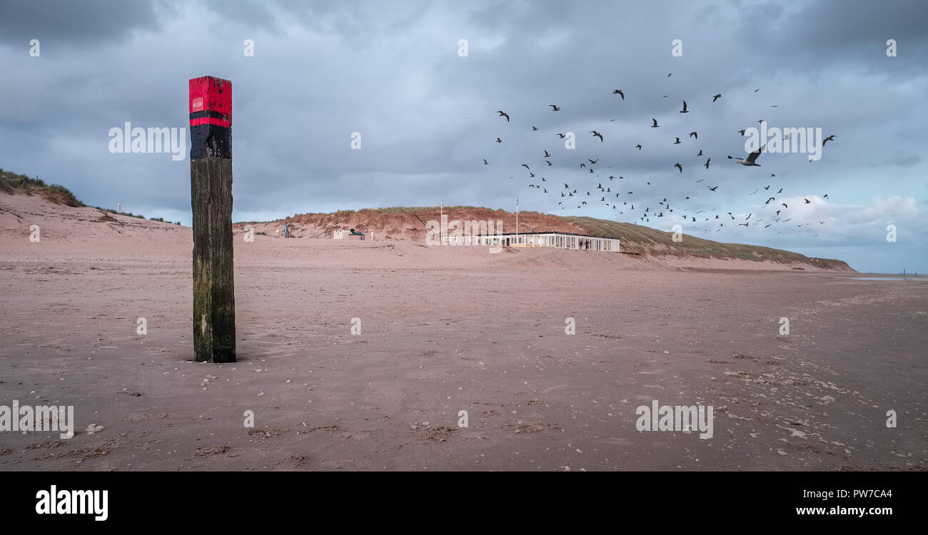 Illustration shows poles typical for the beaches of Texel, the Netherlands. Stock Photo