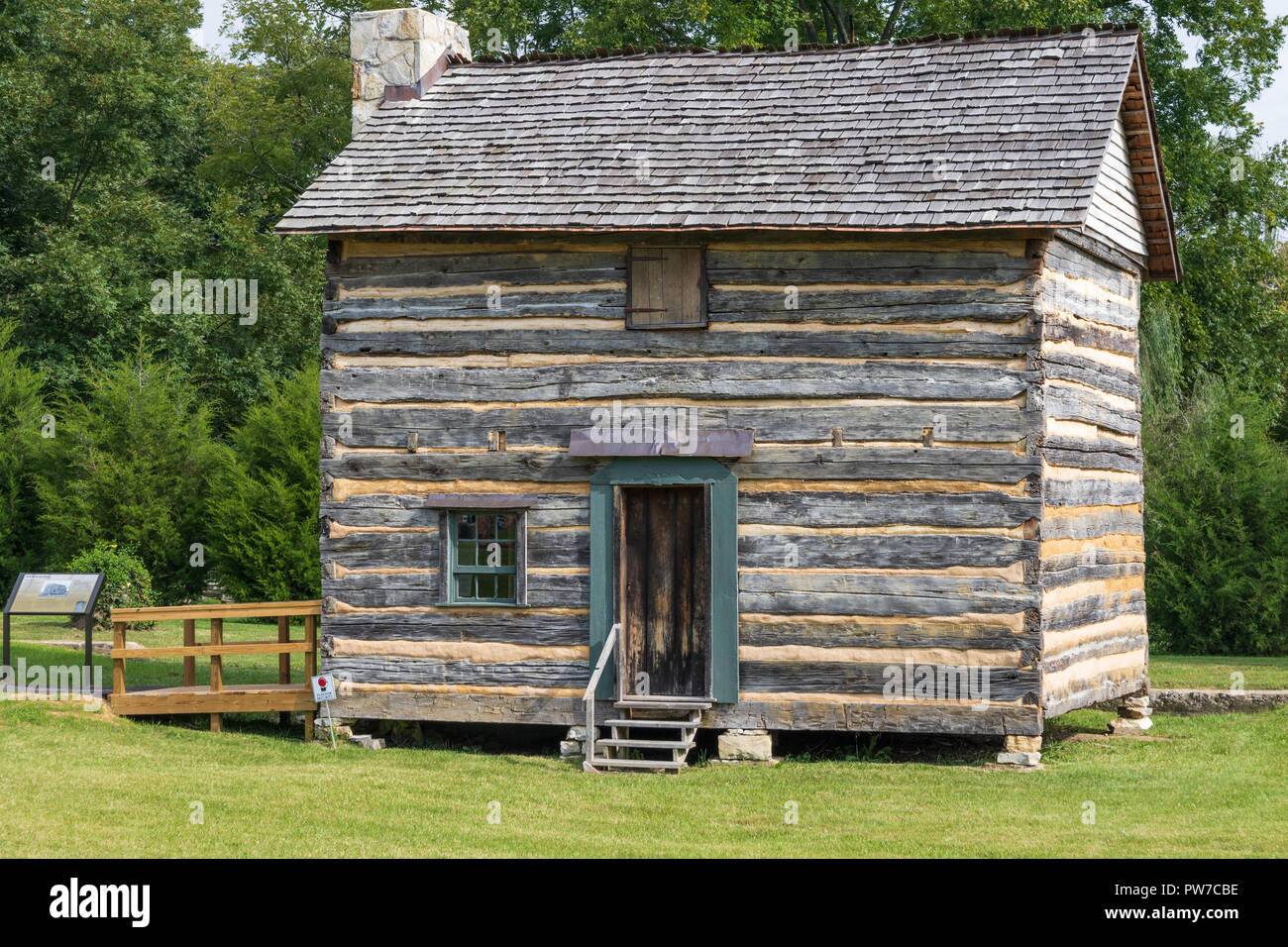 Greeneville, TN, USA-10-2-18: The Seth Babb log house was built in 1787 of oak logs.  In 2015 it was disassembled and moved to the present site. - Stock Image