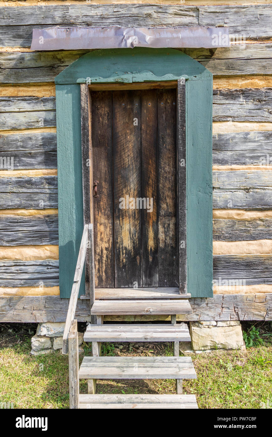 Greeneville, TN, USA-10-2-18: The Seth Babb log house was built in 1787 of oak logs.  In 2015 it was disassembled and  moved to present site. - Stock Image