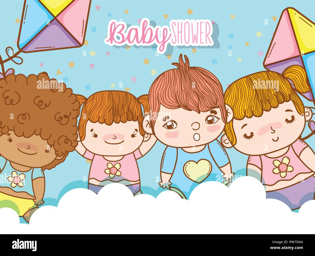 cute babies in the clouds with kites toys - Stock Vector