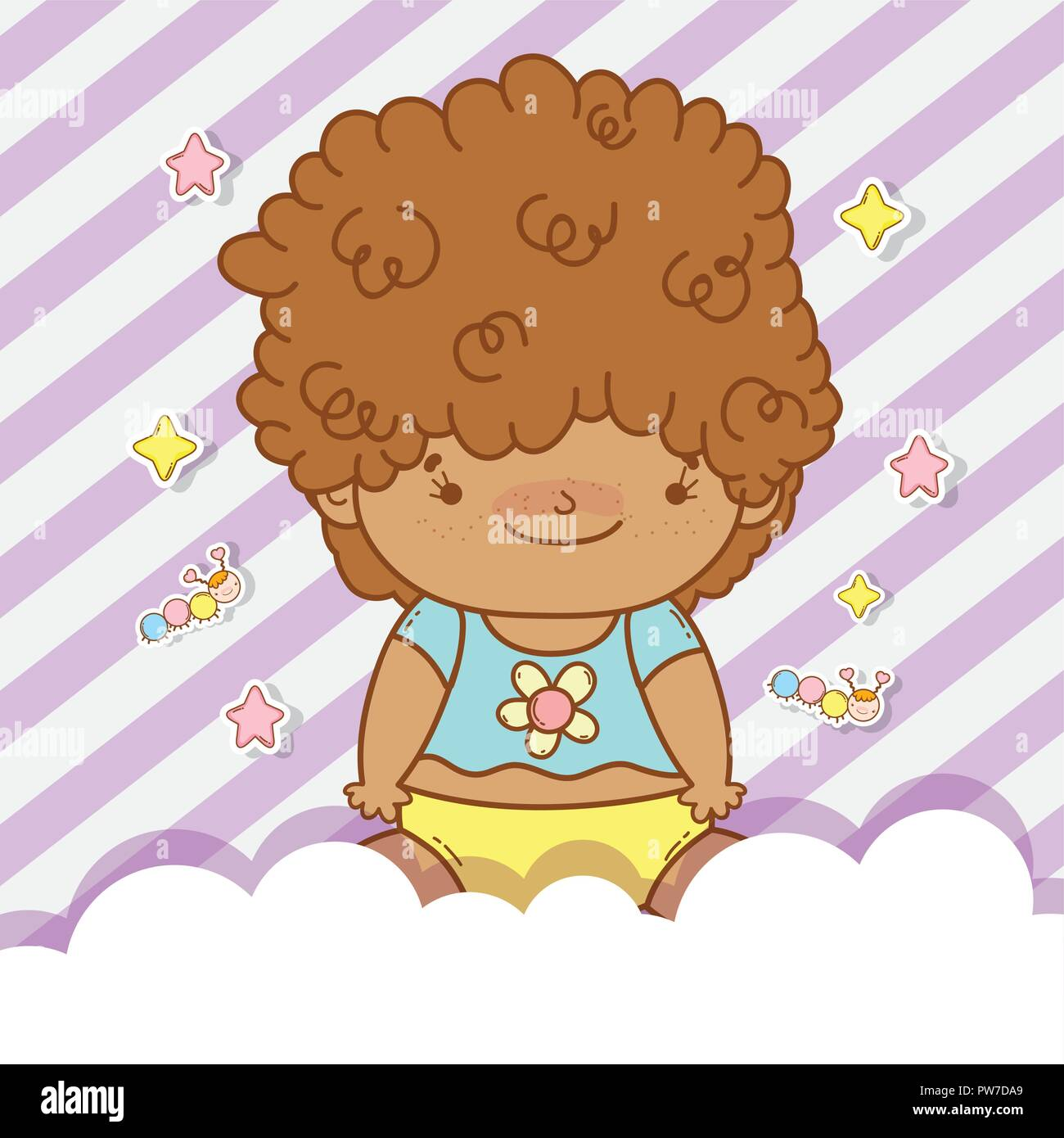 Cute Baby Boy With Curly Hair Stock Vector Image Art Alamy