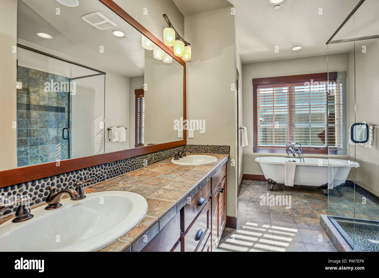 Master Bathroom With Double Sink Vanity Cabinet Walk In