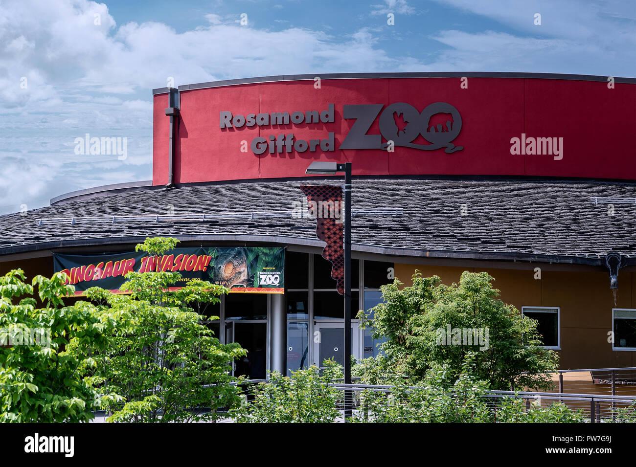 SYRACUSE, NY, USA - MAY 30, 2018: A closeup Shot of The Rosamond Gifford Zoo Building, Located on 1 Conservation Pl, Syracuse, NY 13204. - Stock Image