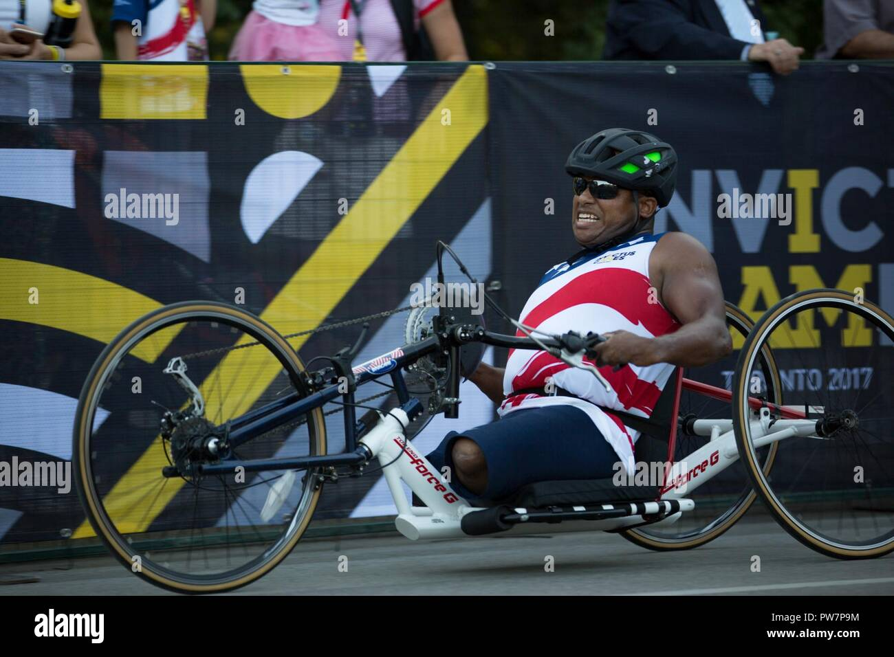 U S  Army veteran Ryan Major competes in cycling at High Park