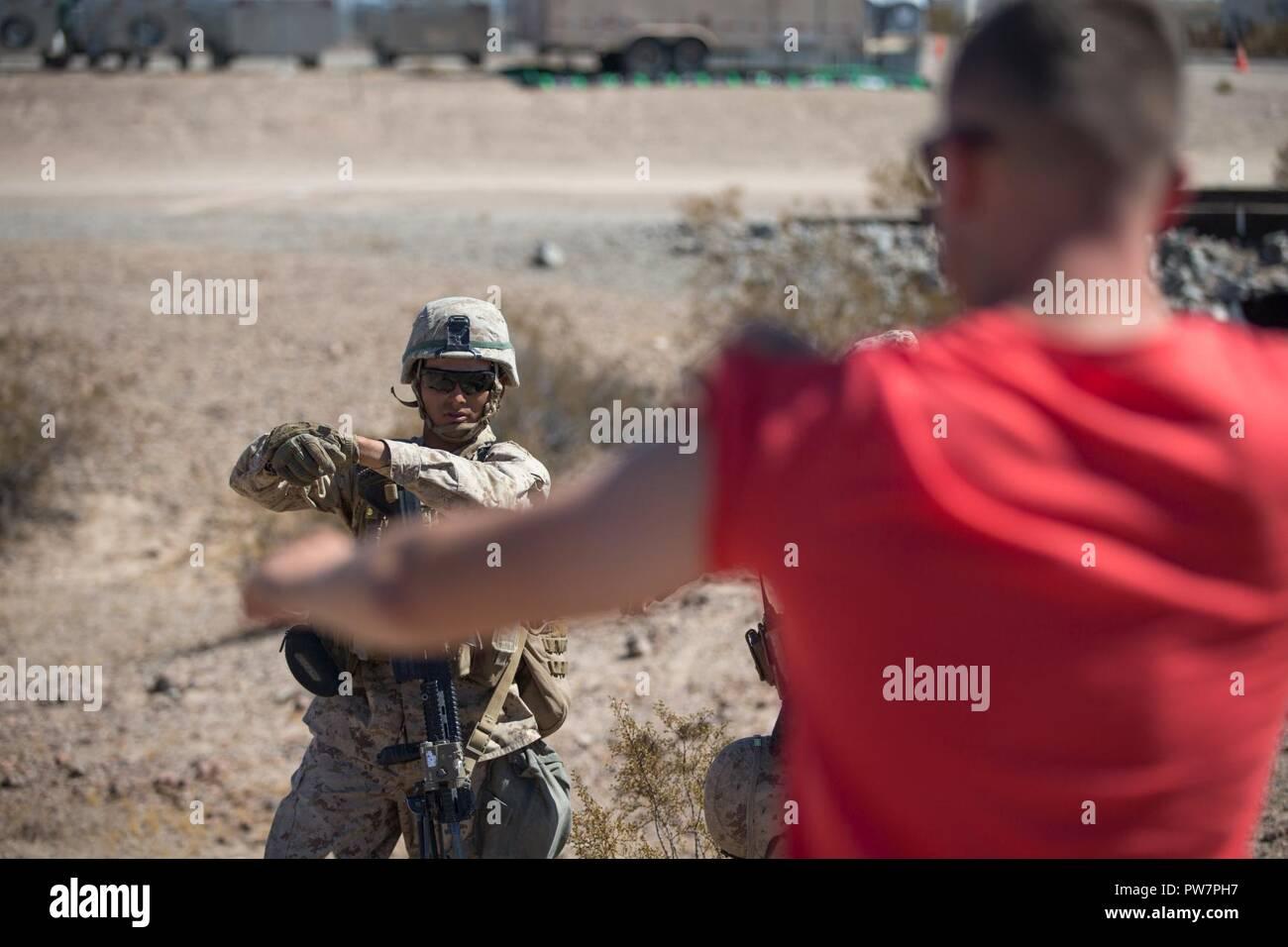 A U S  Marine Corps infantry Marine assigned to Kilo Company