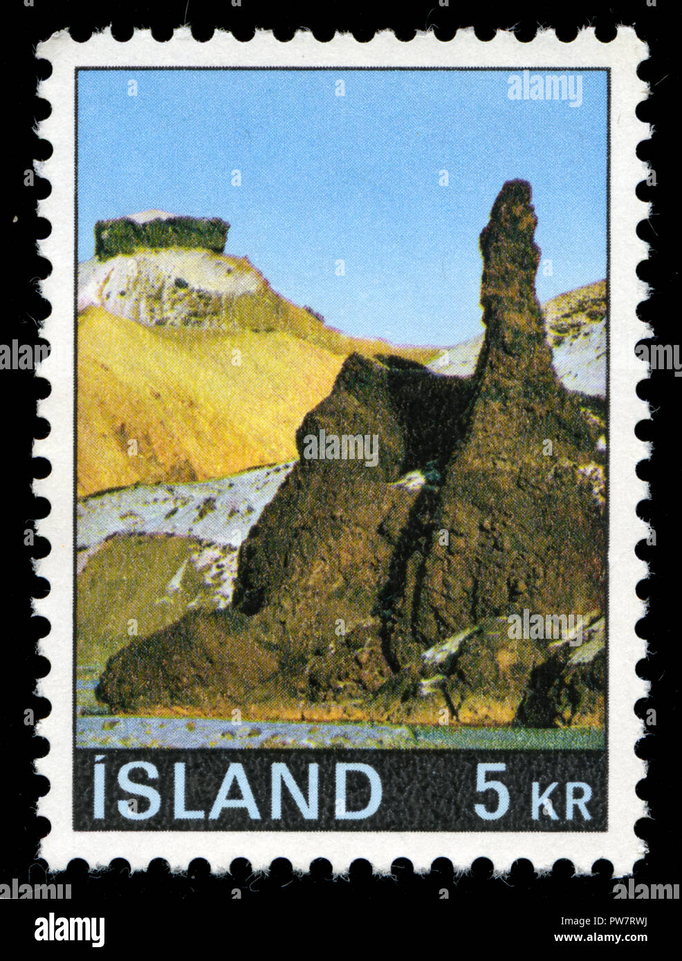 Postmarked stamp from Iceland in the Landscapes series issued in 1970 - Stock Image
