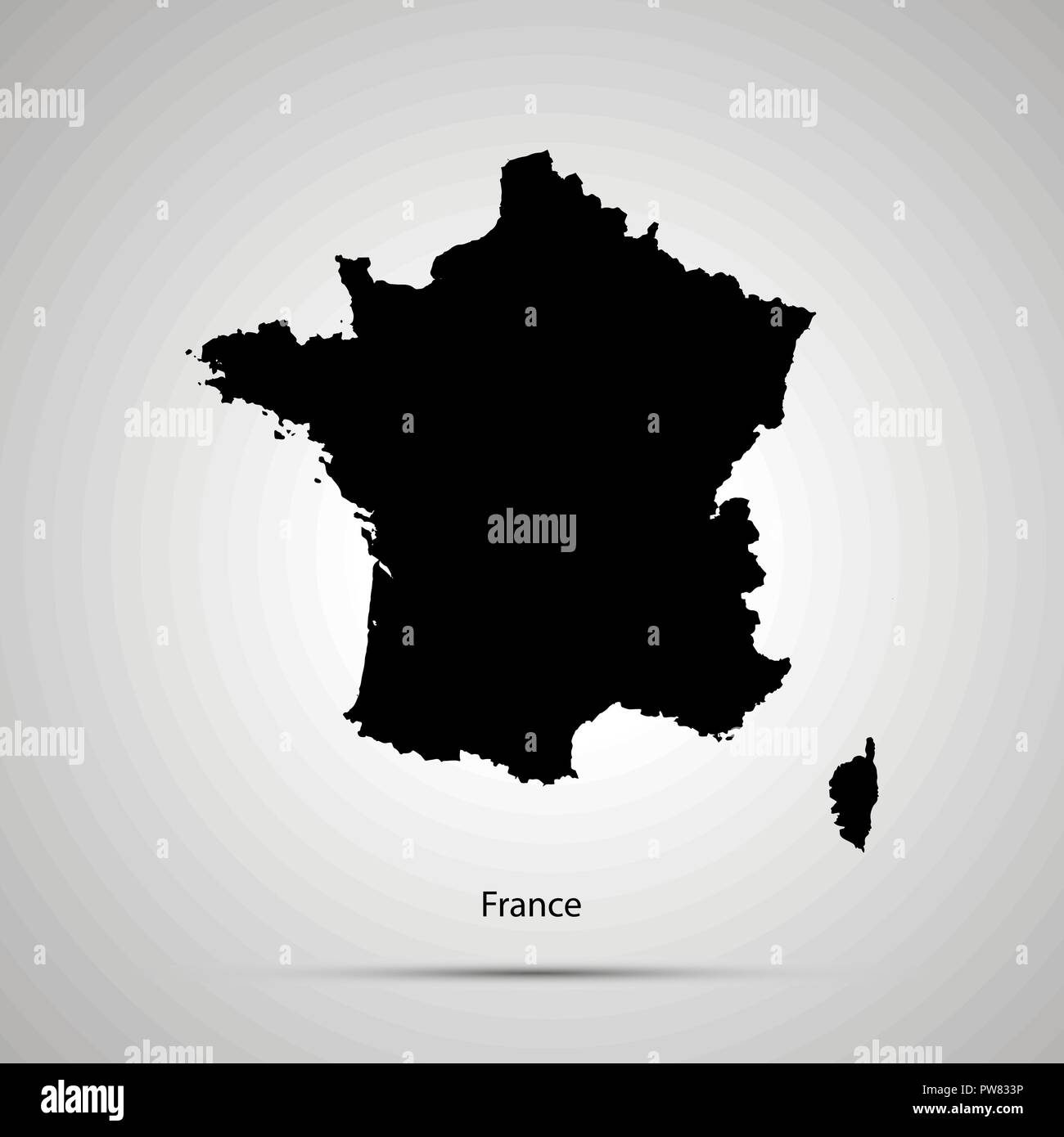 Country Map Of France.France Country Map Simple Black Silhouette Stock Vector Art