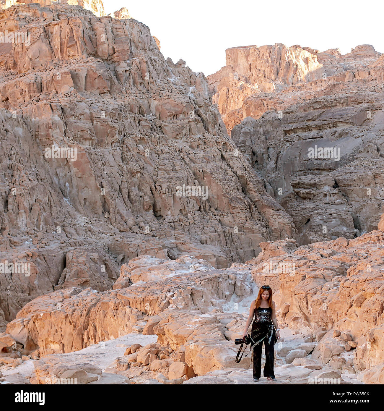 Lady with camera walking in  White Canyon. South Sinai. Egypt - Stock Image