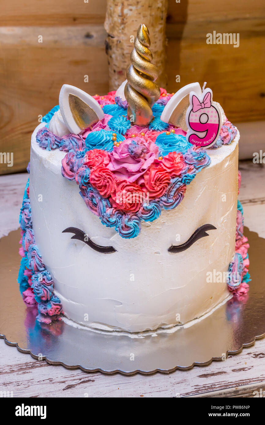 Astounding Unicorn Birthday Cake For Little Girls Decorated With Colorful Personalised Birthday Cards Veneteletsinfo