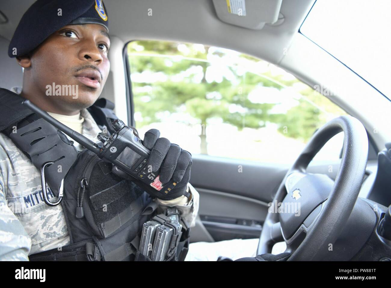 87th Security Forces Law Enforcement Officer Responds To The Call Of A Gate Runner On Joint Base McGuire Dix Lakehurst New Jersey Sept 30 2017