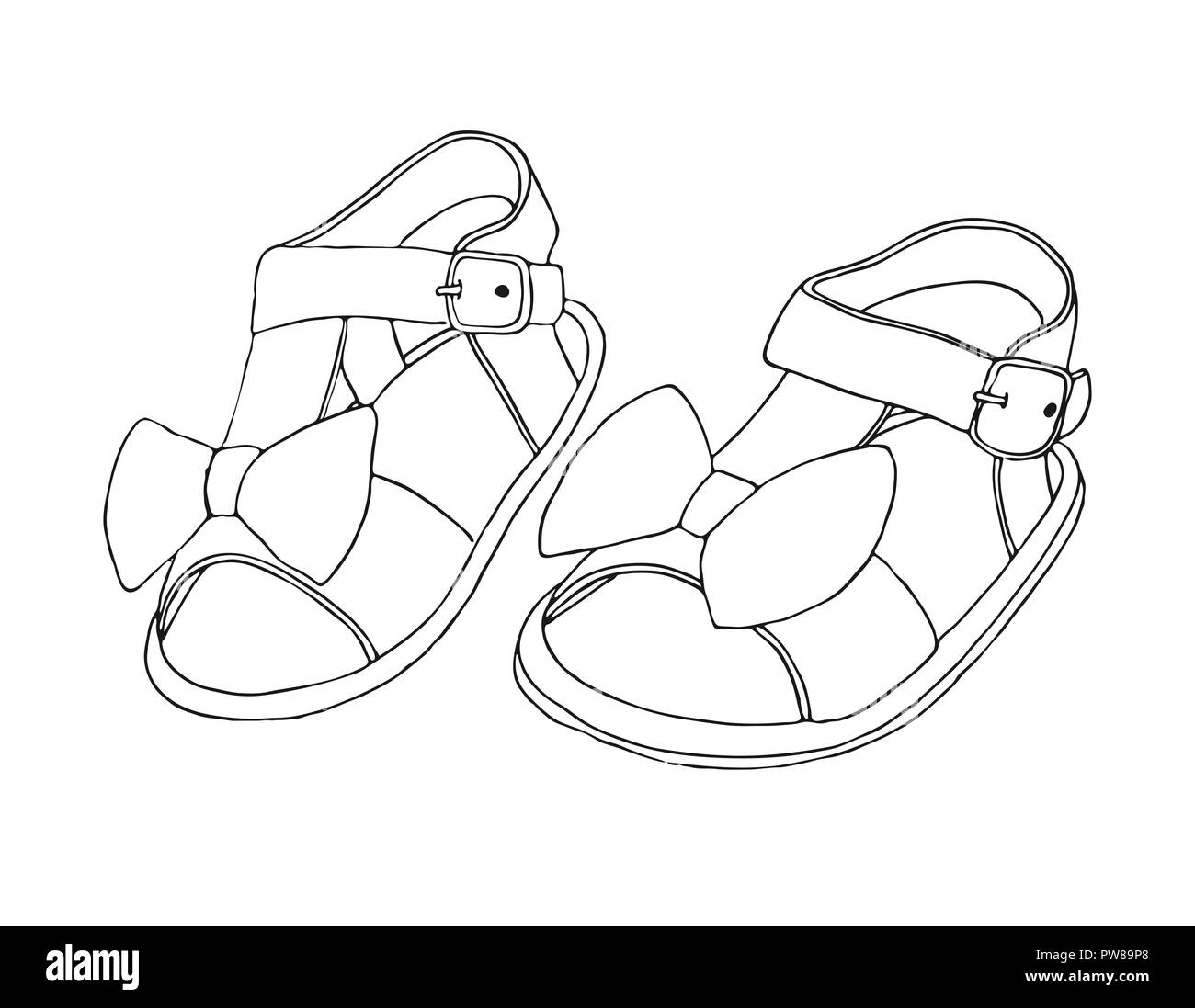 3804166a59ee2 Sketch of children's sandals for girls. Vector illustration Stock ...