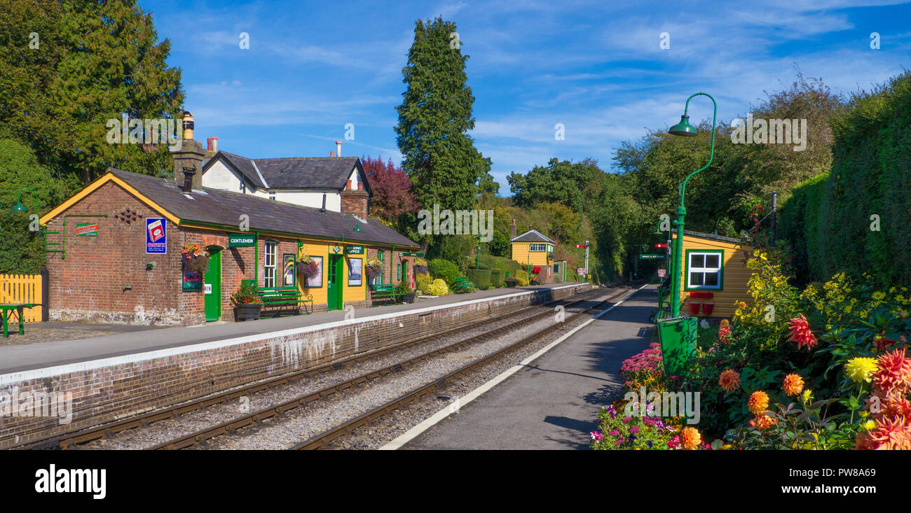Medstead & Fourmarks Station  is a typical country railway station that first opened in 1868 and is  situated  on The Mid Hants Heritage Railway also  - Stock Image