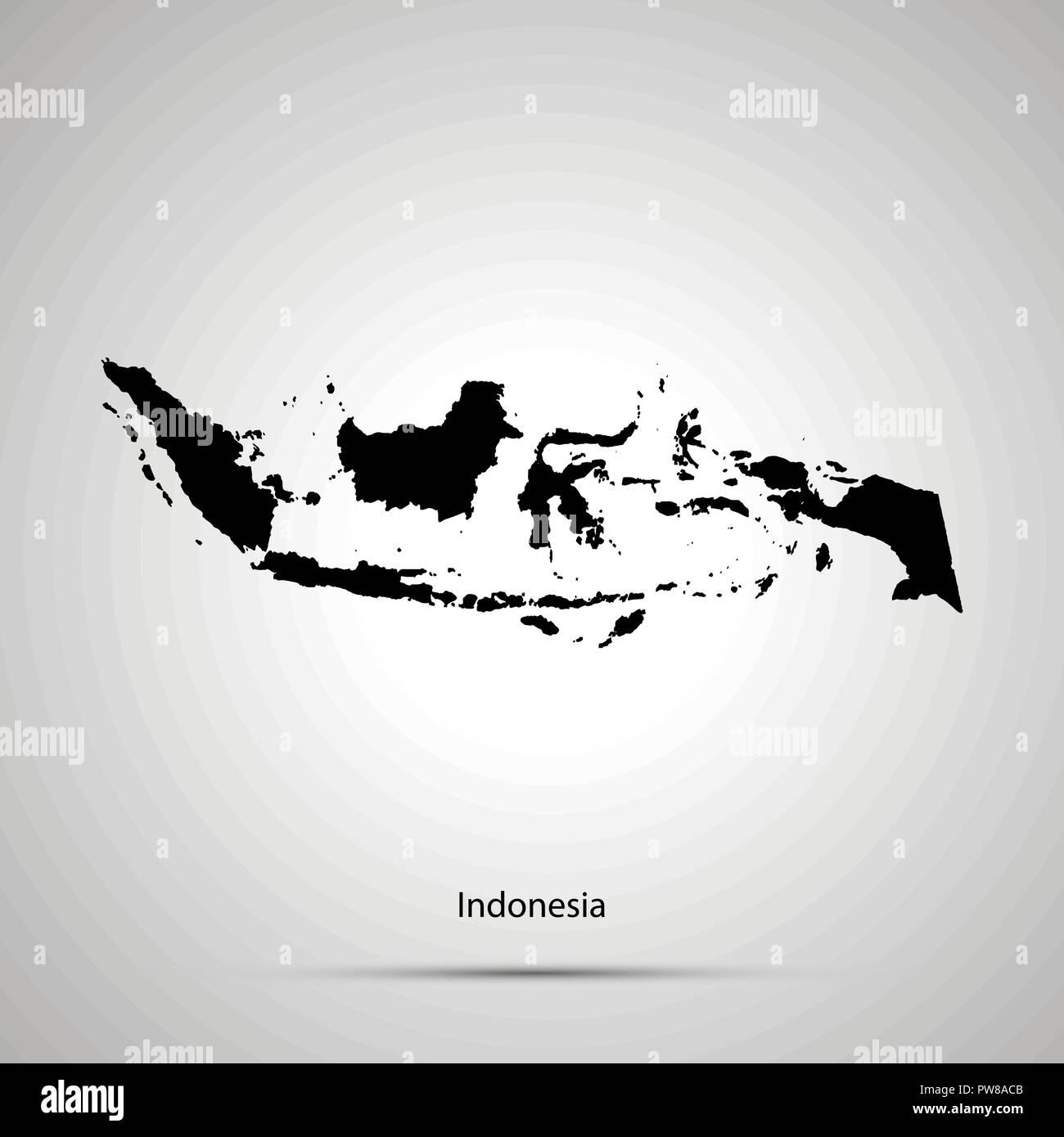 Indonesia country map, simple black silhouette on gray Stock Vector