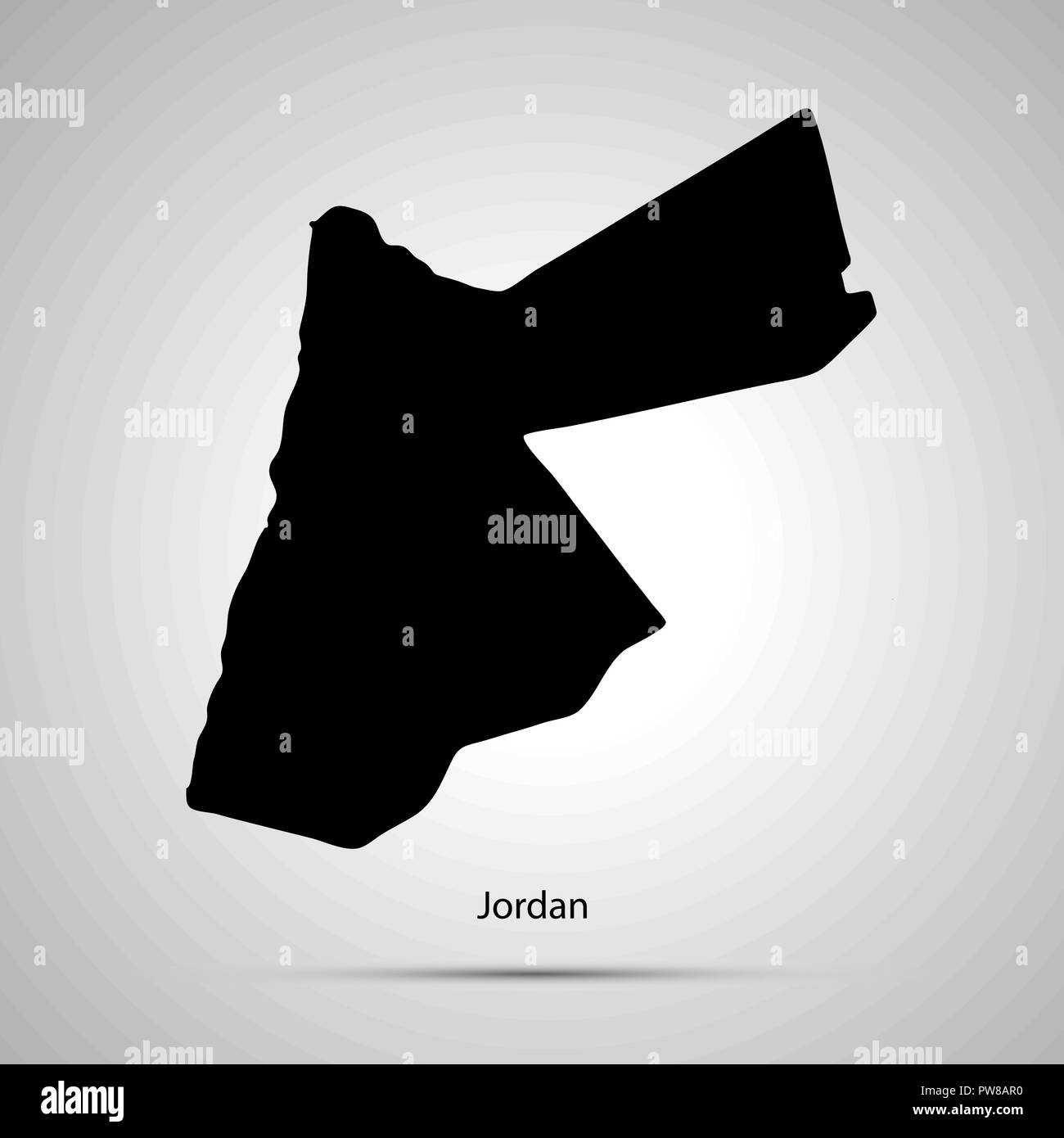 Jordan country map, simple black silhouette on gray - Stock Image