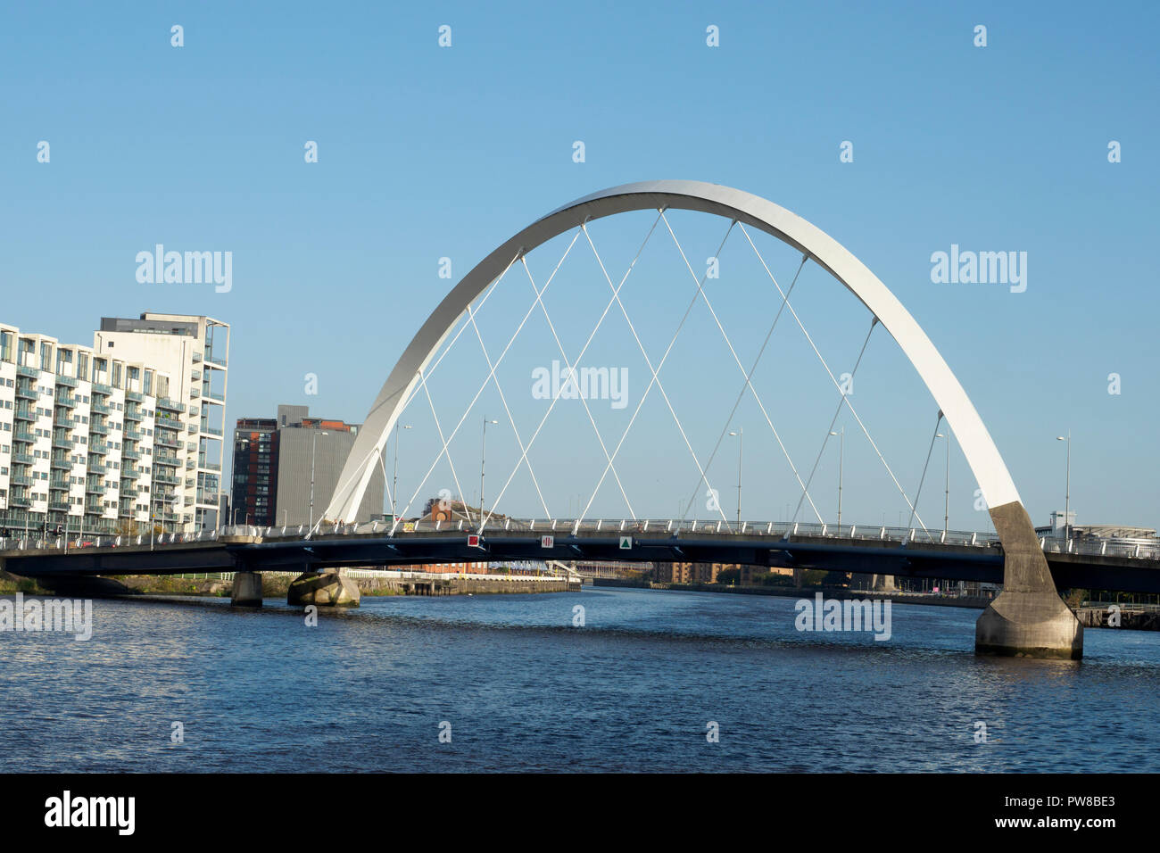 The Clyde Arc (known locally as the Squinty Bridge), is a road bridge spanning the River Clyde in Glasgow, Scotland Stock Photo
