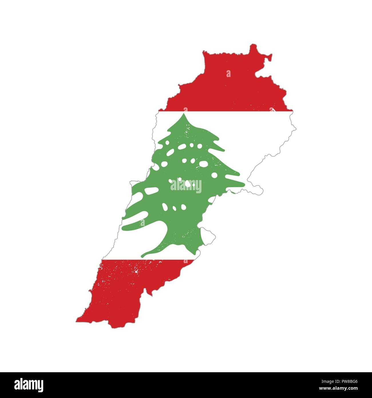 Lebanon country silhouette with flag on background, isolated on white Stock Vector
