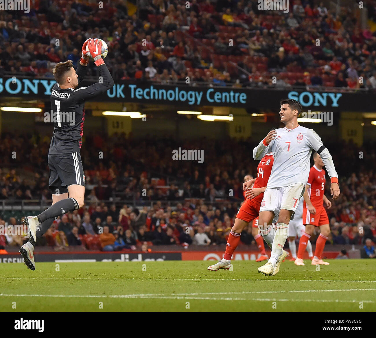 Wales keeper Wayne Hennessey makes save  during the Wales v Spain Friendly Football at Principalty Stadium Cardiff Wales on October 13 2018 Graham / G Stock Photo