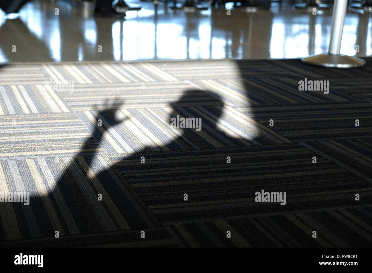 Silhouette or shadow of a man on the carpet; surprised, alarm, distress. - Stock Image