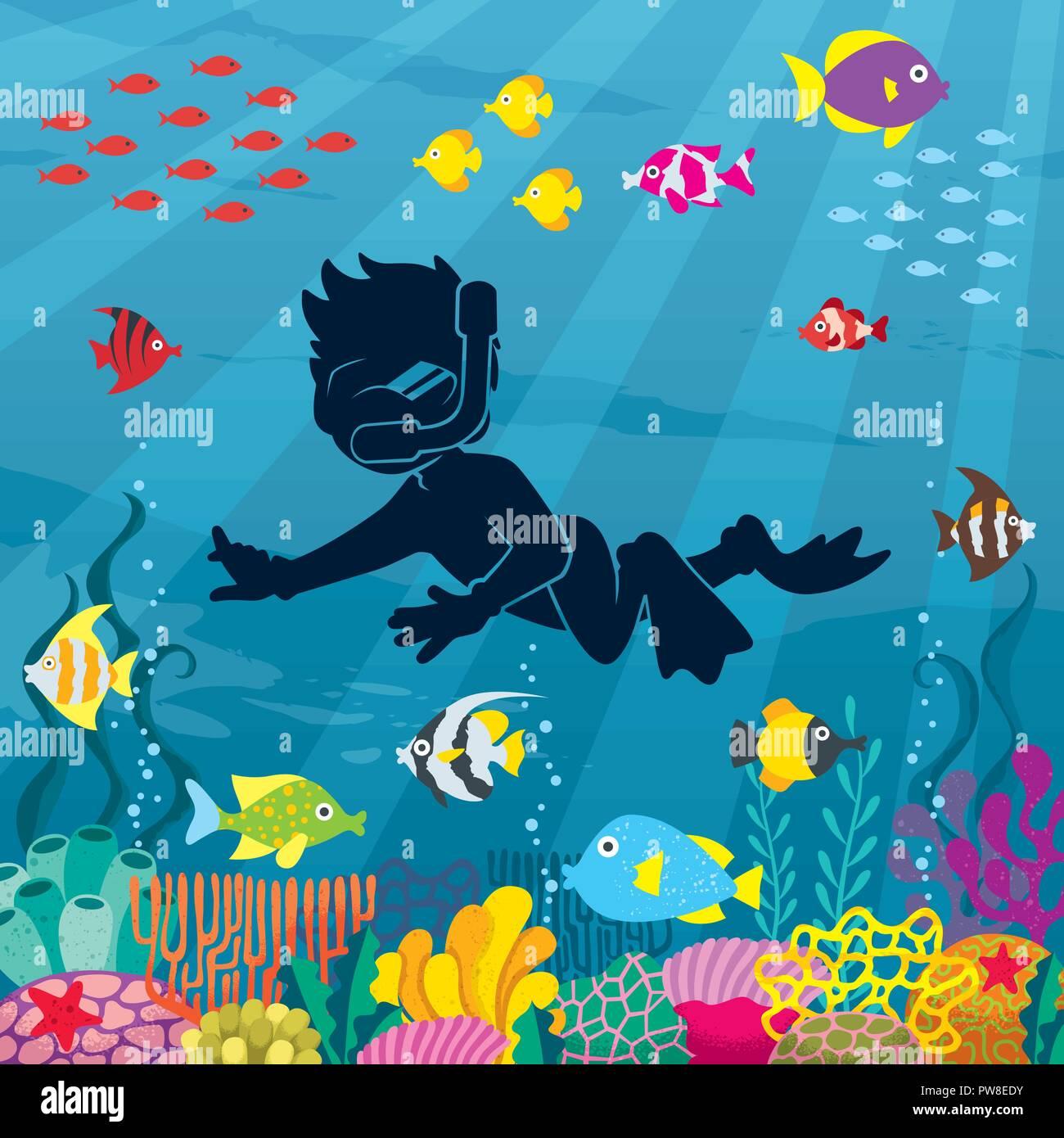 Diver Boy Undersea  - Stock Image