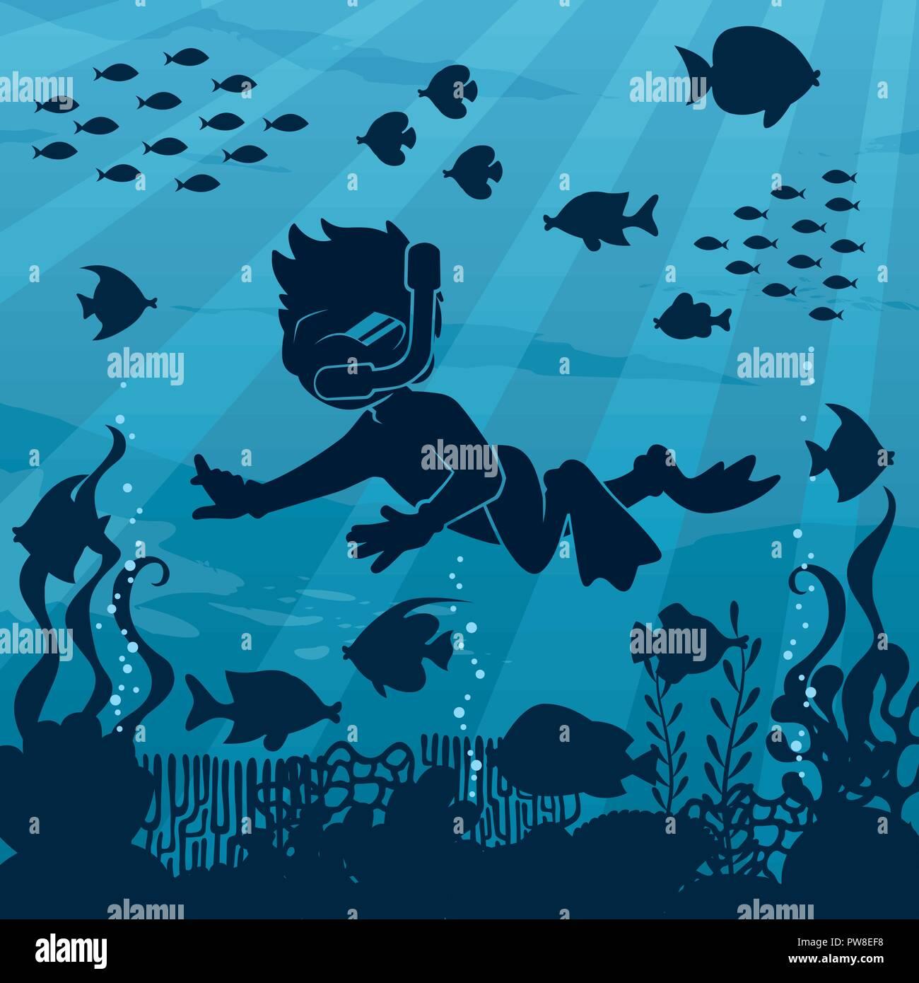 Diver Boy Undersea 4 - Stock Image