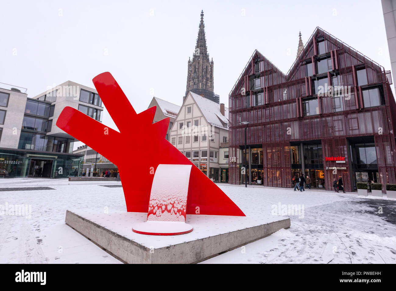 Red Dog, Roter Hund by Keith Haring, sculpture in Hans-und-Sophie-Scholl-Platz,  Ulm, Baden-Württemberg, Germany - Stock Image