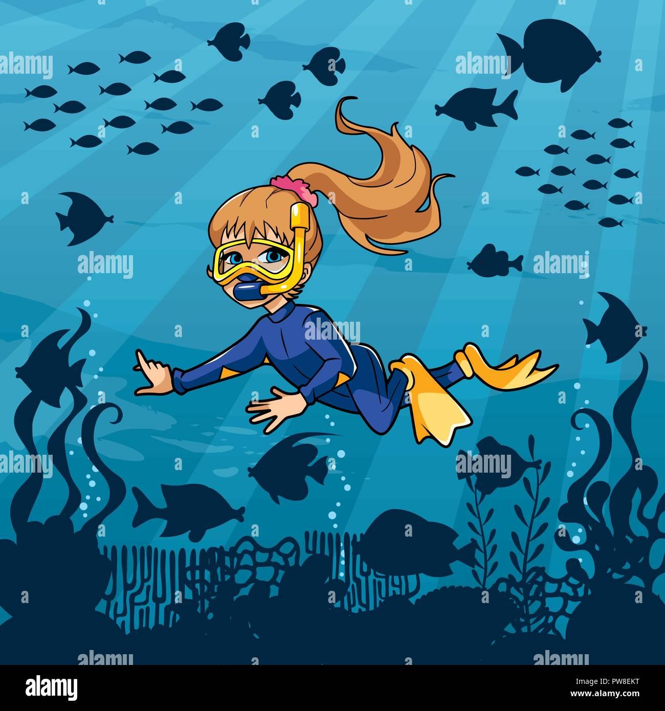 Diver Girl Undersea - Stock Image