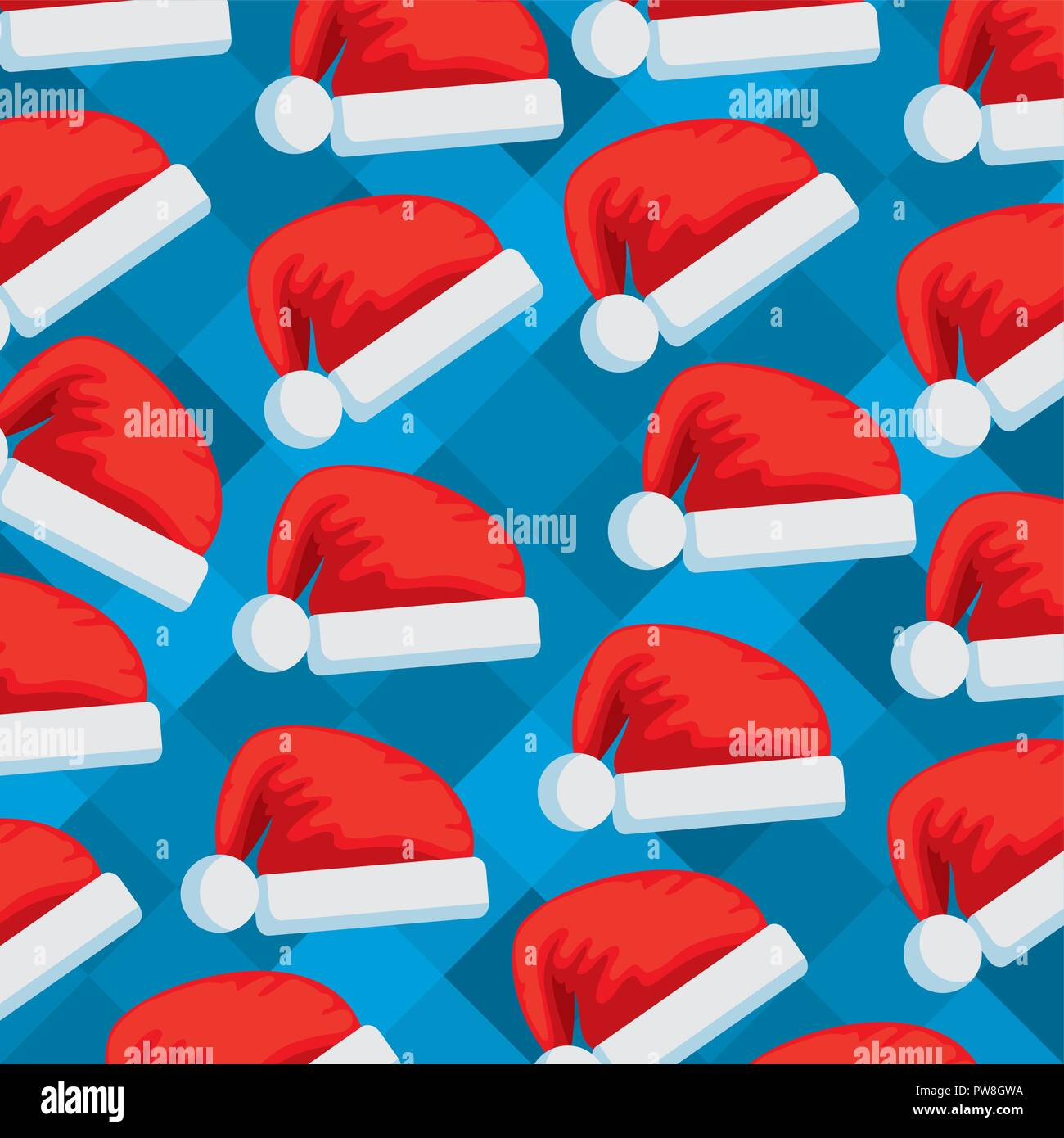 santa claus hats pattern - Stock Image