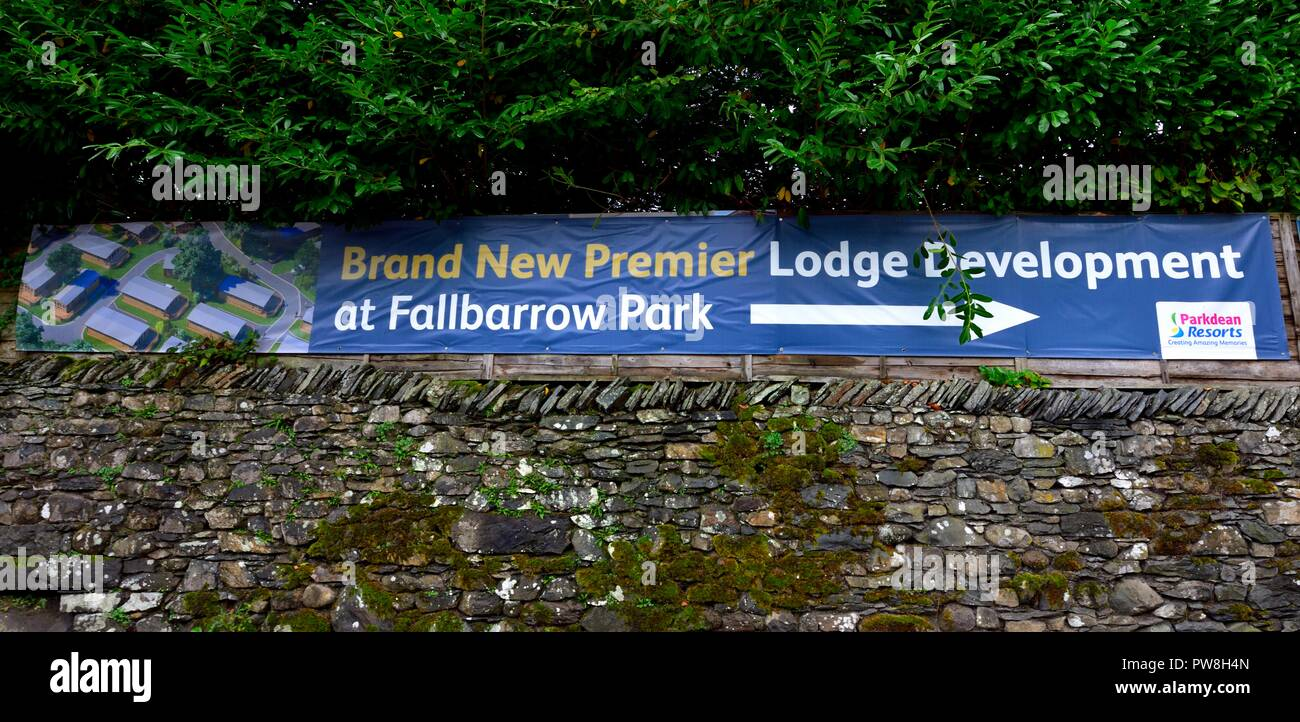 Advertising banner being used to promote property development at Fallbarrow park,Bowness on Windermere,Lake District,Cumbria,England,UK - Stock Image