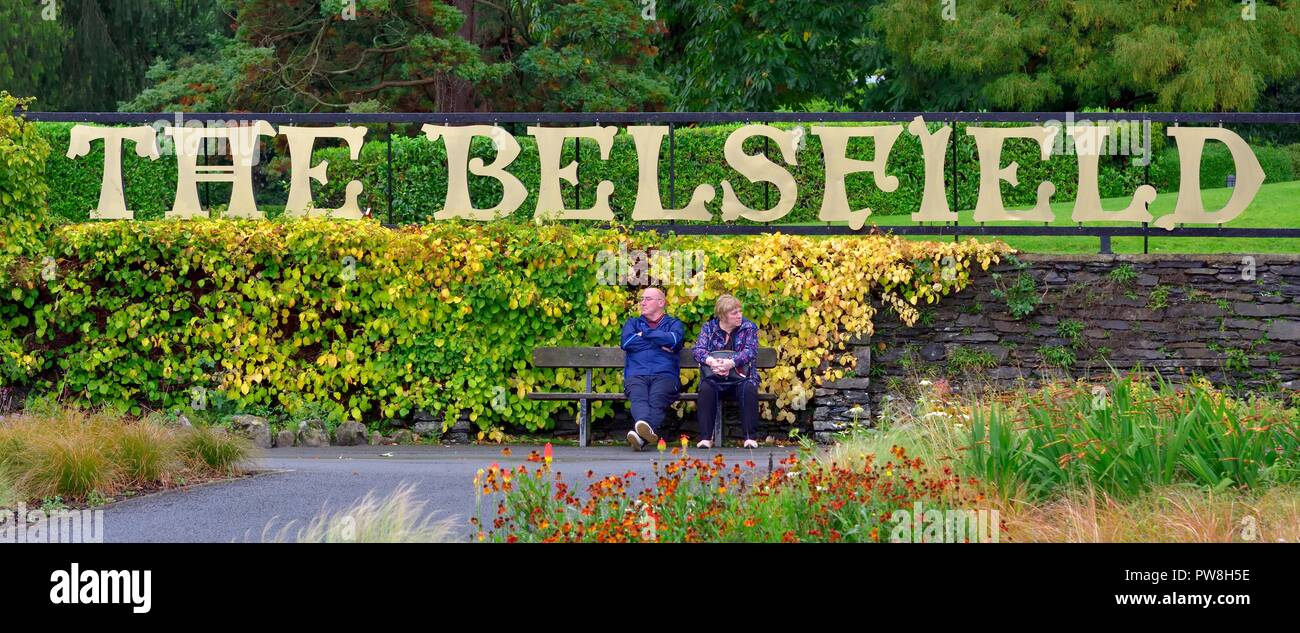 Giant hotel sign,The Belsfield hotel,Laura Ashley,Bowness on Windermere,Lake District,Cumbria,England,UK - Stock Image