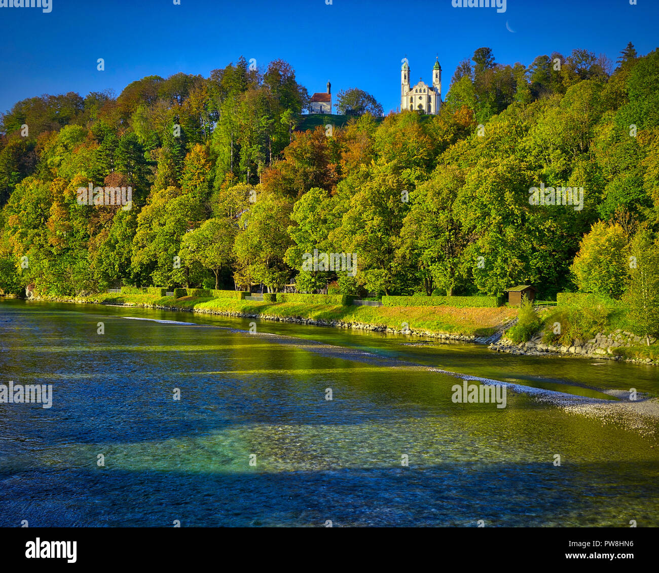DE - BAVARIA: River Isar and Kalvarienberg at Bad Toelz  (HDR-image) - Stock Image