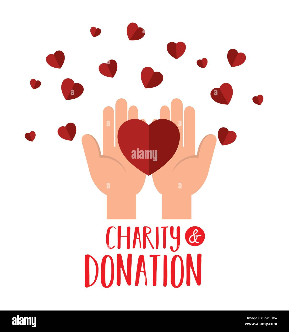 hands with hearts charity donation Stock Vector