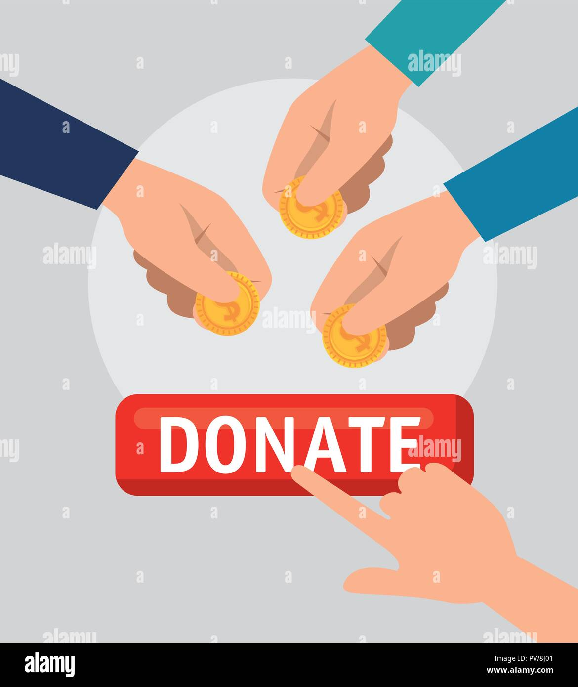 hands with money charity donation Stock Vector